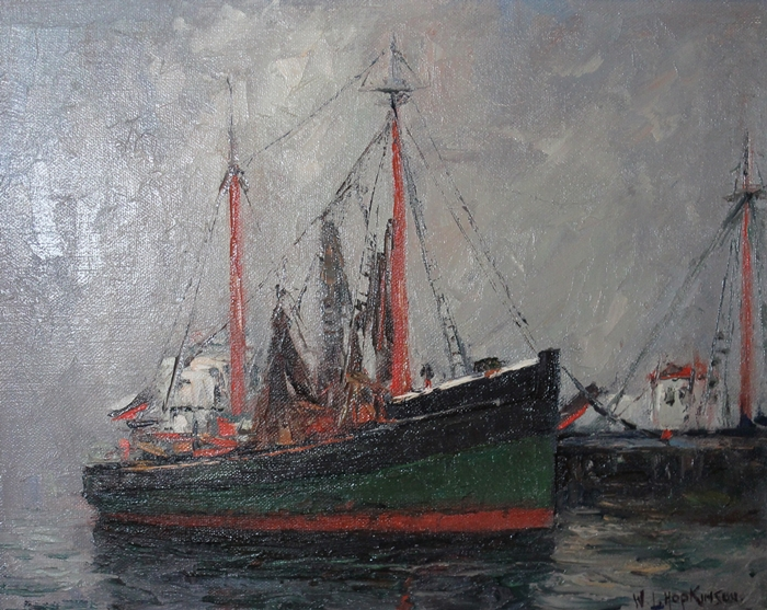 W.J. Hopkinson painting for sale depicting the ship The Eagle.