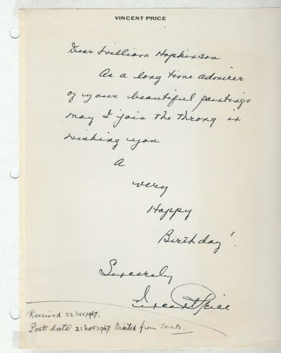Photo of Vincent Price's letter to William John Hopkinson